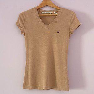 Tommy Hilfiger Tan Short Sleeve V-Neck Tee Size S